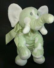 Baby Animal Adventure Green Elephant Plush White Polka Dots Sewn Eyes 2010 Bow