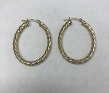 14k Yellow Gold Large Textured/Twisted Hoop Earrings