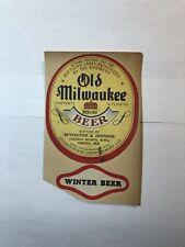 Old Milwaukee Beer Vintage paper beer label Jos. Schlitz Brewing Milwaukee, Wi