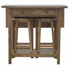 Solid Wooden 2 Drawer Breakfast Table With 2 Stools- 100% Wood, Hand Crafted