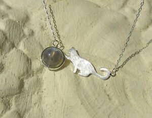 E12 Pendant With Necklace Silver 925 Cat Spielt Ball Made Of Crystal