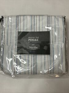 Martha Stewart TWIN FLAT Sheets 400 TC Solid Blue Percale Cotton