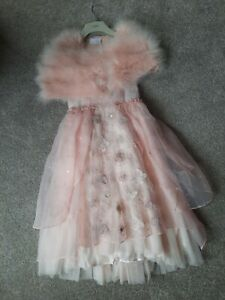 Gorgeous Peachy Pink  Party Dress Next age 7 with Matching Shrug  NEW