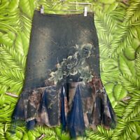 West 36th Womens Size Small Floral Denim Skirt Long Floral w/ Fringe