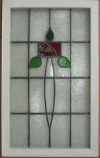 "LARGE OLD ENGLISH LEADED STAINED GLASS WINDOW Lovely Rose Design 21.25"" x 34.75"""