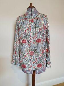 Linea Tesini Blouse Size 12 Autumn Fashion Botanical Pattern