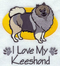 I Love My Keeshond Dog Set Of 2 Hand Towels Embroidered Beautiful