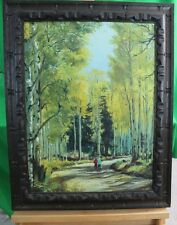Original Painting Fall Season Walk in Woods Landscape by A. W.LIN Rustic Frame