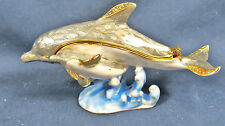Dolphin & Baby Jeweled Pewter Trinket Box Nautical Sea Life