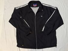 Vintge Champion Grey Track Jacket Windbreaker Mens Large