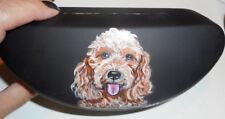 Goldendoodle Dog Hand Painted Hard Eyeglass Sunglass Glasses Case vegan Box