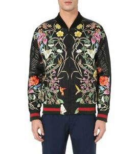 GUCCI Men Floral-print Embroidered Silk Bomber Jacket- Sz IT48 - New & Authentic