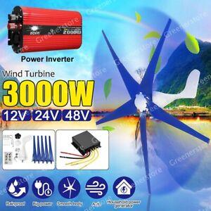 3000W Wind Turbine Generator 3/5 Blades Charge Controller Inverter 12V 24V 48V