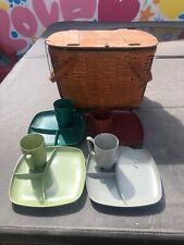 Vintage Picnic Basket With Casualwear Plates And Cups By Jerrywill