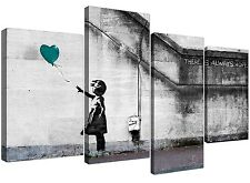 Canvas Wall Art of Banksy Balloon Girl in Teal for your Bedroom