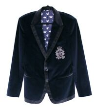 DOLCE & GABBANA Blue & Gray Velvet CROWN BEE Men's Tuxedo Jacket 50