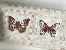 BUTTERFLIES WALLPAPER BORDER WITH JUNGLE PRINT WINGS MUTED COLORS  AW77382B