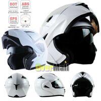 DOT Dual Visor Flip Up Full Face Modular Motorcycle Bike Motocross Helmet White