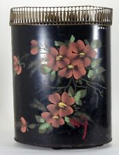 Vintage Tole Ware Hand Painted Waste Basket Black Red Floral W Feet Crown Top