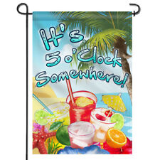 """ANLEY It's 5 o'Clock Somewhere Garden Flag Double Sided Double Stitched 12.5x18"""""""