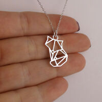 Origami Fox Necklace - 925 Sterling Silver - Charm Foxes Japan Asia Paper Animal
