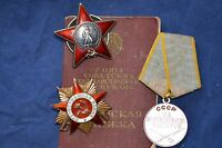 ORIGINAL SOVIET RUSSIAN AWARD GROUP SET PATRIOTIC WAR ORDER MEDAL WITH DOCUMENTS