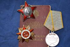 ORIGINAL SOVIET RUSSIAN AWARD GROUP SET PATRIOTIC WAR ORDER MEDAL WITH DOCUMENTS