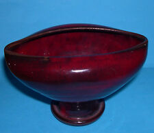 Ewenny Studio Pottery - Unusual Red/Black Gloss Glaze Footed Vase (Makers Mark).