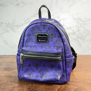 Loungefly Disney Parks Haunted Mansion Purple Wallpaper Mini Backpack- Preowned