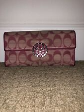 Coach Wallet Purse Long Wallet Signature Hoy Pink Woman Authentic Used