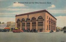 Postcard Hollywood Bank + Post Office Hollywood FL