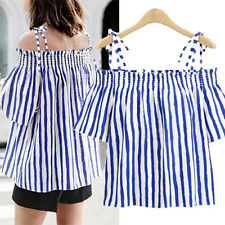 Summer off Shoulder Blouse Womens Ladies Striped Bandage T Shirt Tops 2017 Red 2xl