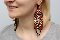 Native american beaded earrings, fringe earrings, seed bead earrings,