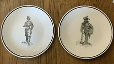 2 Frederick Remmington Brown & Bigelow Collector Plates Porcelain Signed 10 1/2""