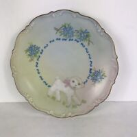 Tirschenreuth Germany Vintage Plate Little Lamb Hand Painted Blue White