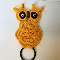 "Vintage Crocheted Owl Towel Holder Yellow 16"""