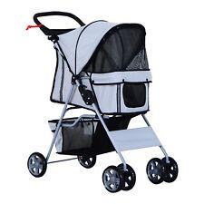 Grey 4 Wheel Dog Cat Pet Stroller Pushchair Buggy Pram Foldable Travel Carrier