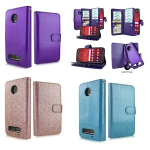 for Motorola Z3 Play Glitter Kickstands Hybrid Slot Strap Magnetic Wallet Case