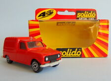 Boxed red 1/43 scale die-cast R4F POMPIERS Renault 4 van model by Solido