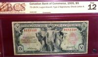 1935 $5 CANADIAN BANK OF COMMERCE   CANADA CHARTERED BANKNOTE