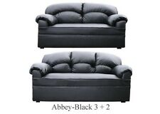 New Black Or Brown Leather 3 2 Sofas Suite Couch Settee