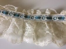 Vintage Lace Ruffle Ivory Teal Blue Ribbon Trim Edging Per 1 Yard Deadstock