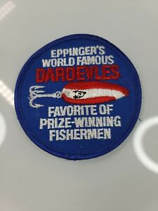 """VINTAGE """"EPPINGER'S WORLD FAMOUS DARDEVLES"""" FISHING PATCH"""