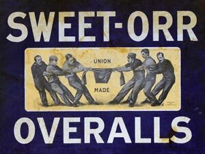 SWEET ORR OVERALLS UNION MADE CLOTHES HEAVY DUTY USA MADE METAL ADVERTISING SIGN