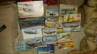 Vintage Model Planes (15) Open Boxes. Matchbox Kp Hasegawa Heller, Nice Choice!