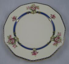 """TRENTINO Black Knight Octagonal 9 7/8"""" Dinner Plate Royal Blue Band Floral"""