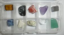 10 Color Stone Collection Set in plastic box all different colors Stone Specimen