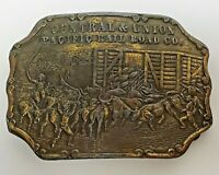 Brass Central & Union Pacific Rail Road Co. Belt Buckle Vintage Western 70s