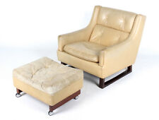 Retro Vintage Leather Chair and Stool 1 of 2 BRUKSBO Norway Rosewood Armchair