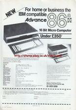 "Advance 86a ""Vintage Micro Computer"" 1984 Magazine Advert #5226"
